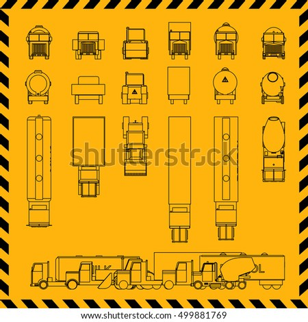 Truck 2d Icons Set Vector Illustration Stock Vector