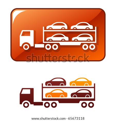 Truck delivers the cars. Vector icon - stock vector