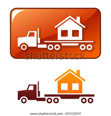 Truck delivers the house. Vector icon