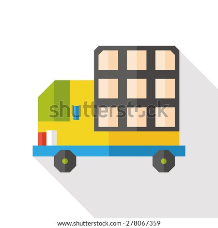 truck flat icon with long shadow - stock vector