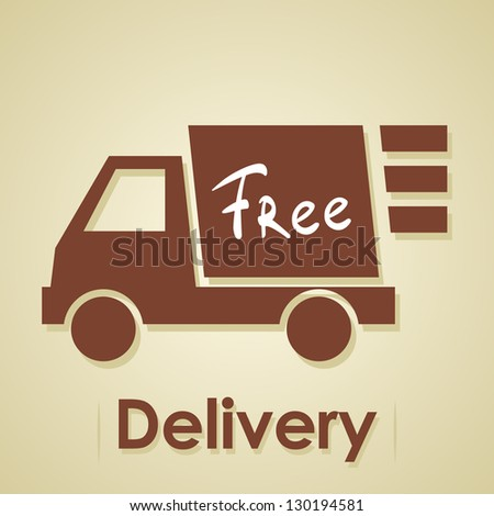 Truck free delivery.Iillustration of shipments goods and commodities. - stock vector