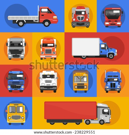 Truck heavy carrier transport delivery van decorative icons flat isolated vector illustration - stock vector