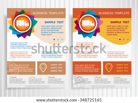 Truck icon on abstract vector brochure template. Flyer layout. Flat style.