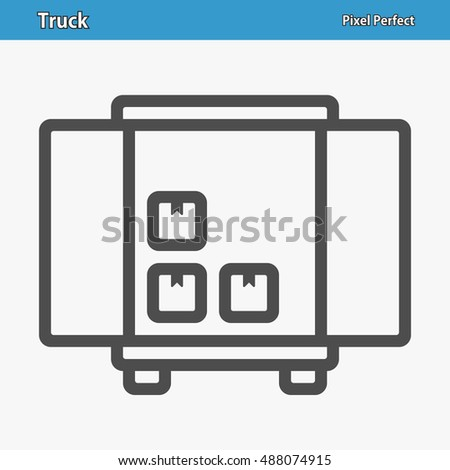 Truck Icon. Professional, pixel perfect icons optimized for both large and small resolutions. EPS 8 format. 12x size for preview.