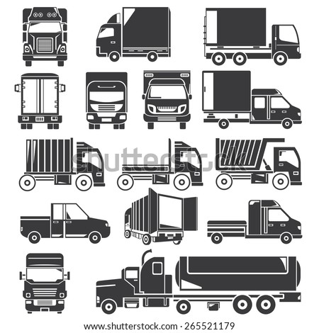 truck icons set - stock vector