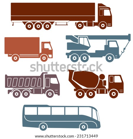 Truck icons set isolated on white background. Vector collection of vehicles: Concrete mixer truck, Truck crane, Dump truck, Truck with cargo container, Lorry and Bus. - stock vector