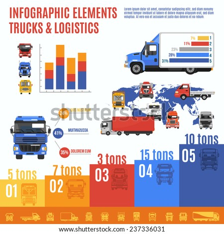 Truck infographic set with delivering and shipping transport and charts vector illustration - stock vector