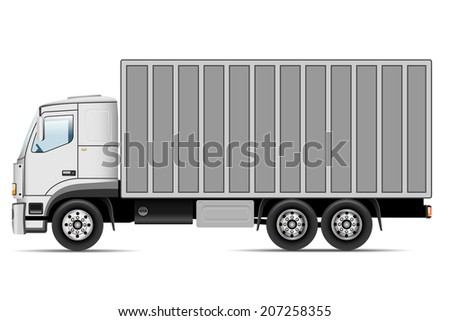 Truck isolated on white background. Vector illustration. - stock vector