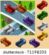Truck Isometric set. vector vehicle set isometric series - stock vector