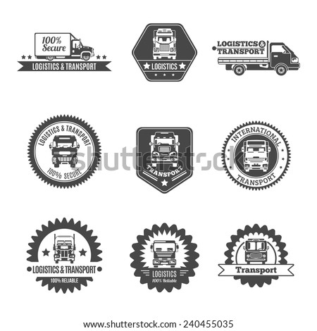 Truck logistics and transport auto transportation label black set isolated vector illustration - stock vector