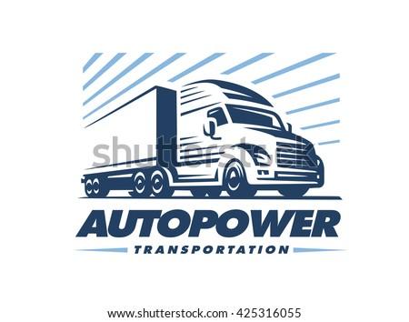 Truck logo illustration on white background - stock vector