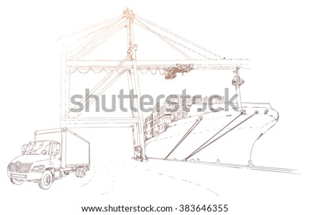 Truck, lorry and cargo ship in seaport. Hand drawn vector illustration, realistic sketches. - stock vector