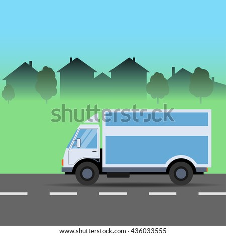Truck on the Road. City, Logistics, Delivery. Vector illustration.