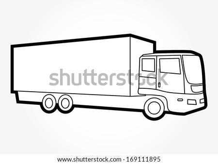 Semi Truck Outline Truck Outline Vector