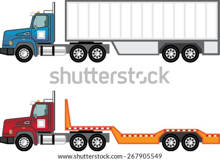 Truck semi and flatbed - stock vector