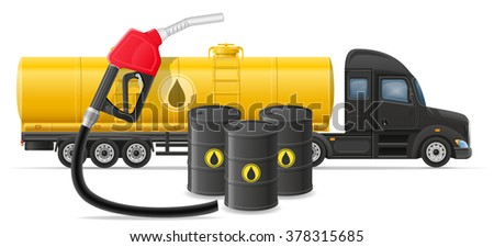 truck semi trailer delivery and transportation of fuel for transport concept vector illustration isolated on white background - stock vector