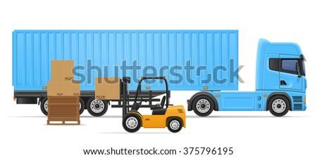 truck semi trailer for transportation of goods concept vector illustration isolated on white background - stock vector