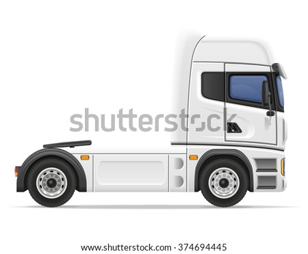 truck semi trailer vector illustration isolated on white background - stock vector
