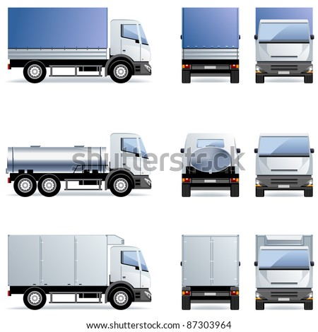 Truck (Set #11) in vector.  - stock vector