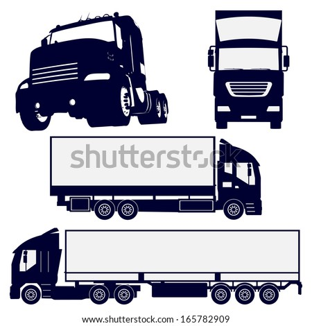Truck silhouettes set - stock vector