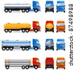 Truck (tank). Set of the car icons in vector (Set #1). In the side, front and back views.   - stock vector