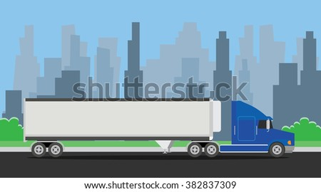 truck trailer blue transportation on the highway with city background - stock vector
