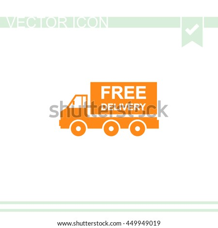 Truck vector icon. Free delivery sign. - stock vector