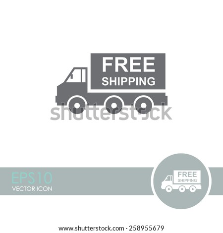 Truck vector icon. Free shipping icon. - stock vector