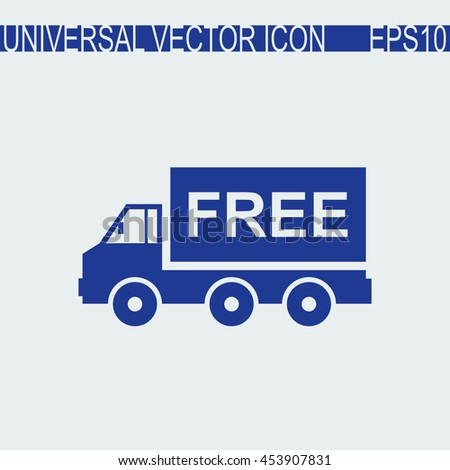 Truck vector icon. Free shipping sign. - stock vector