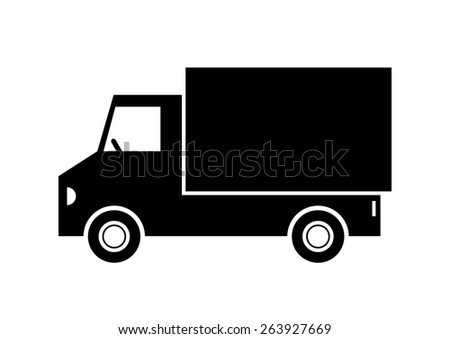 Truck vector icon on white background - stock vector