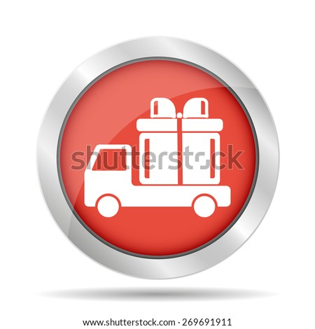 truck with a gift vector icon EPS  - stock vector