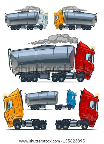 truck with cistern. Cartoon illustration - stock vector