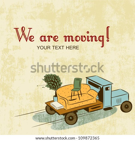 Truck with furniture, concept of moving or relocation. Retro design - stock vector