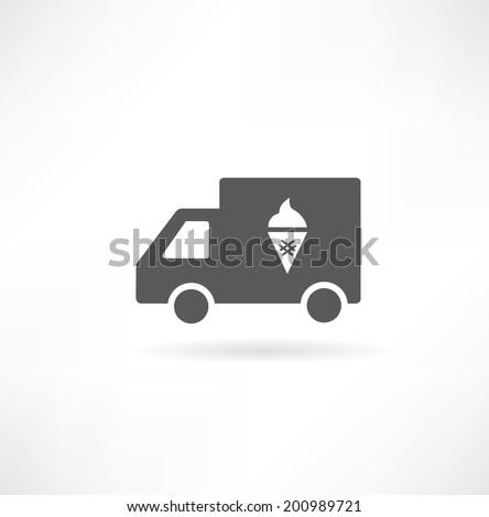 Truck with ice cream icon - stock vector