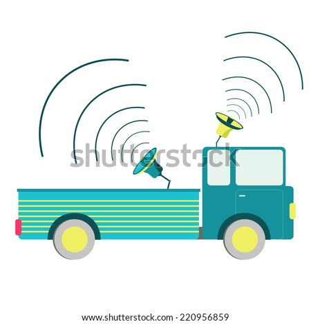 Truck with speaker. Truck carrying speakers. White background. - stock vector