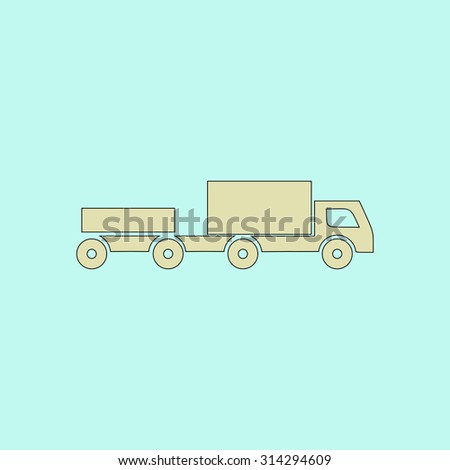 Truck with trailer. Flat simple line icon. Retro color modern vector illustration pictogram. Collection concept symbol for infographic, logo and project - stock vector