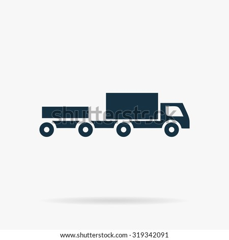 Truck with trailer. Flat vector web icon or sign on grey background with shadow. Collection modern trend concept design style illustration symbol - stock vector