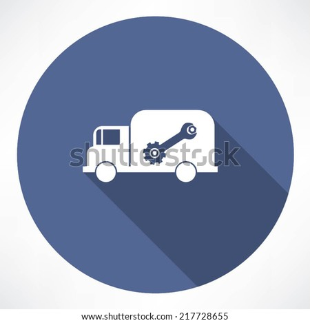 truck with wrench and nut icon - stock vector