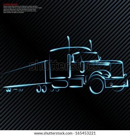 trucking, car - stock vector