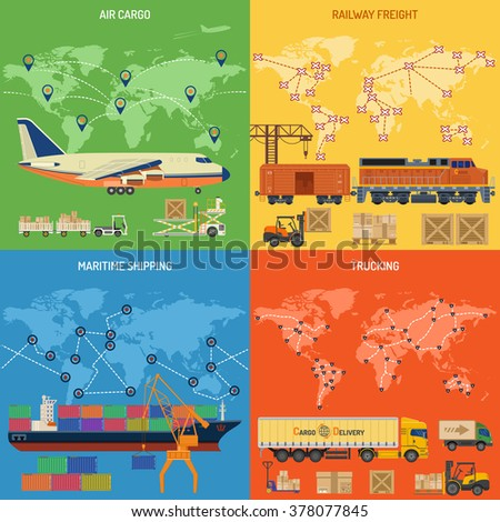 Trucking Industry 4 Banners with Railway, Air Cargo, Maritime Shipping and Trucking Flat icons. Logistics and Freight Transport Concept. vector illustration - stock vector