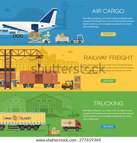 Trucking Industry Banners with Railway Freight and Air Cargo Flat icons such as Freight Truck, Freight Plane, Freight Train. Logistics Vector. Logistics and Freight Transport Advertising Banner. - stock vector