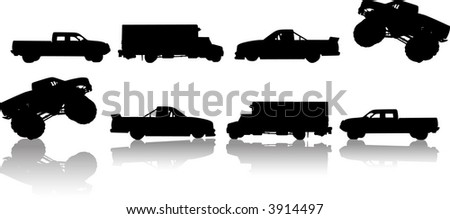 Trucks and Reflections - stock vector
