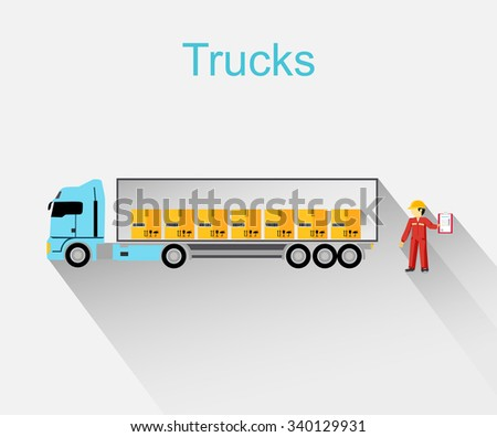 Trucks lorry icon design style flat.  Car and transportation, van and delivery truck, semi truck, truck driver, lorry and delivery, transport cargo, business logistic illustration - stock vector