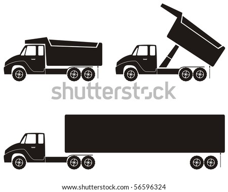Trucks silhouette ideal for business card or letter head - stock vector