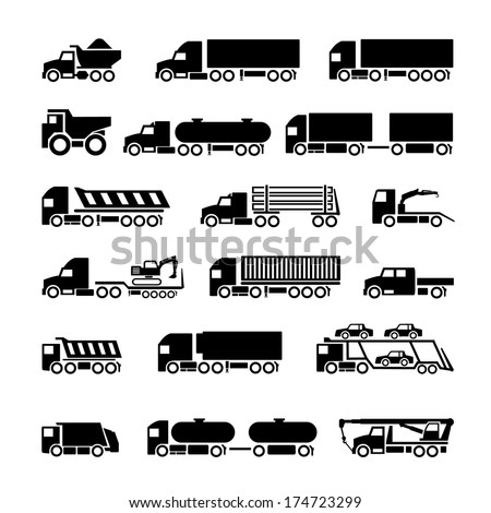 Trucks, trailers and vehicles icons set isolated on white. Vector illustration - stock vector
