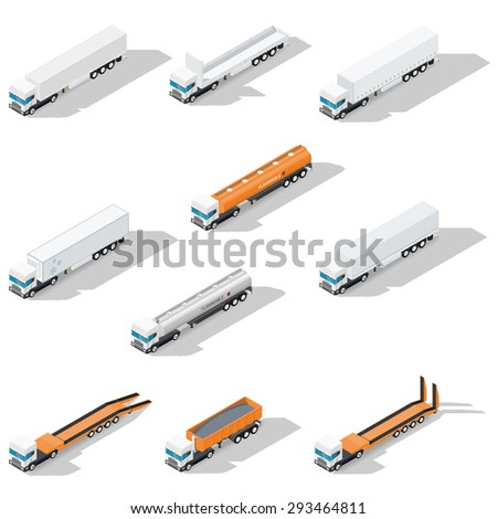 Trucks with semitrailers detailed isometric icon set, front view, vector graphic illustration - stock vector