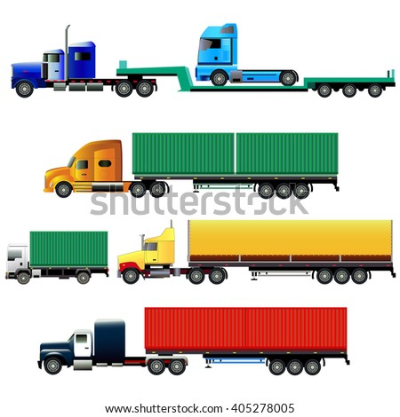 Trucks with trailers of various types. Vector illustration. Isolated on white. All vehicles and all trailers are located on separate layers.