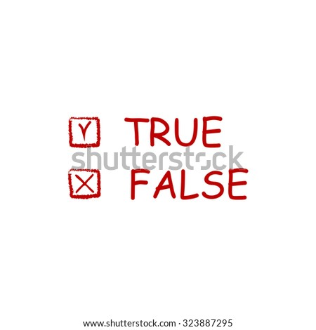 True and False. Red flat icon. Vector illustration symbol