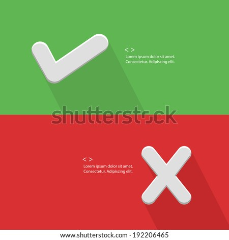 True and false symbol,blank for text,vector - stock vector
