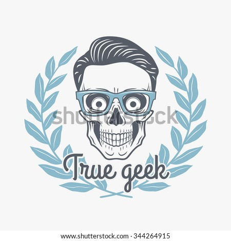 True geek skull vector with hipster glasses and laurel leafs. Crazy deadman insignia template. Smiling skeleton badge design. Jolly student label. - stock vector